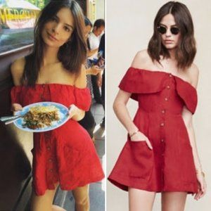 Reformation Botanica Off Shoulder Mini Dress Red